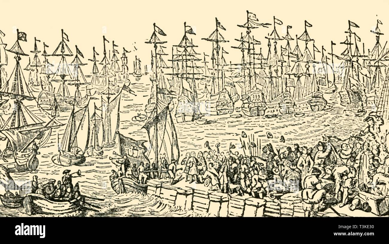 "'The Embarkation of William of Orange from Holland for England, 1688', c1930. The departure of William III of Orange's invasion fleet from the port of Hellevoetsluis in the Netherlands on 11 November (Gregorian calendar), 1688.  William III (1650-1702) set out to conquer Britain with a force of five hundred ships and 14,000 men. After 'The Embarkation of William III, Prince of Orange, at Helvoetsluis', painting made c1688-1699, in Hampton Court Palace, London. From ""The World's Story, a Simple History for Boys and Girls"", by Elizabeth O'Neill. [T. C. & E. C. Jack, London & Ed - Stock Image"
