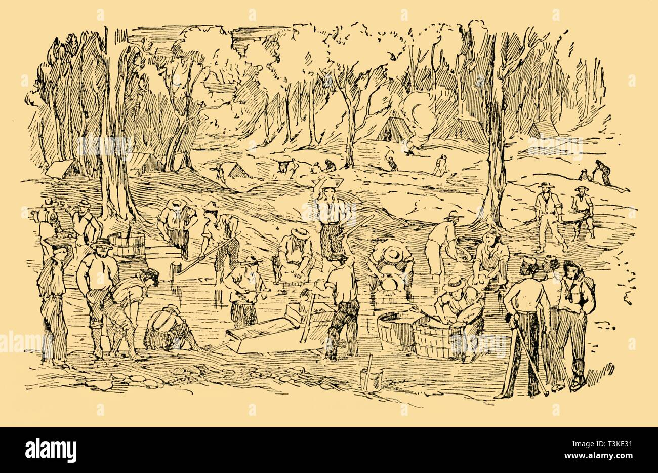 'Digging and Washing For Gold In Australia In 1851', c1930. Creator: Unknown. - Stock Image