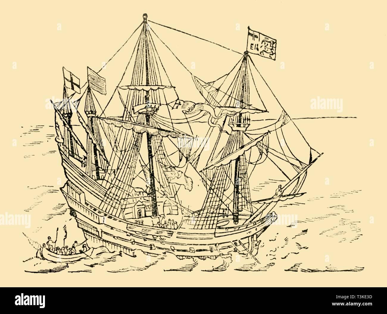 'An English Ship in the Armada Fight', c1930. Creator: Unknown. - Stock Image