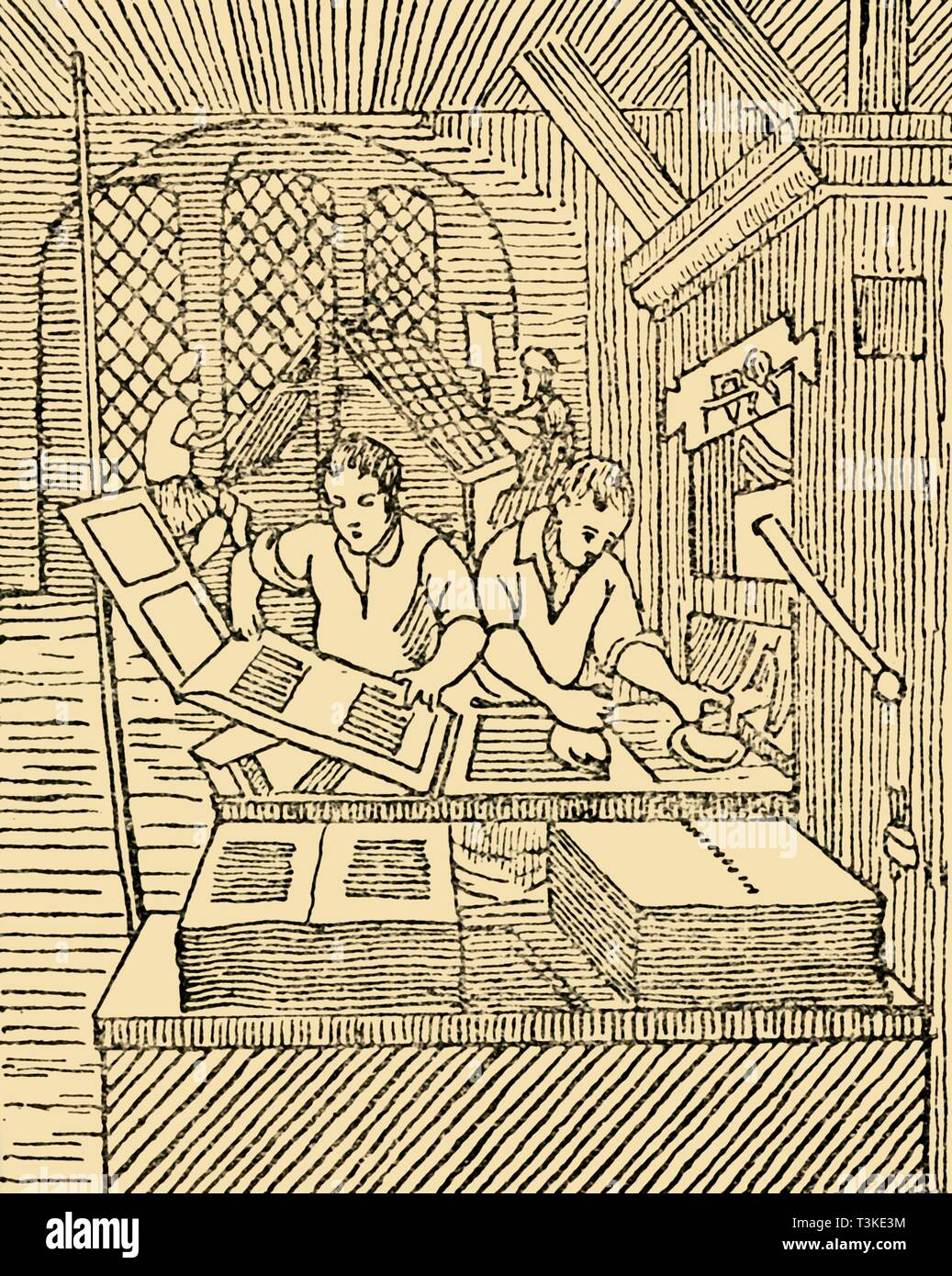 'An Early Printer's Office', c1930. Creator: Unknown. - Stock Image