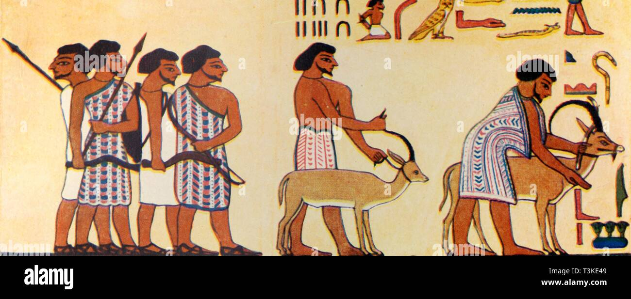 'How An Ancient Egyptian Painted The Coming Of The Israelites Into Egypt', c1930. Creator: Unknown. - Stock Image