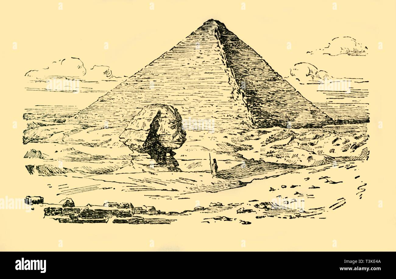 'The Pyramid Tomb of King Khufu and the Great Sphinx at Gizeh, Egypt', c1930. Creator: Unknown. - Stock Image