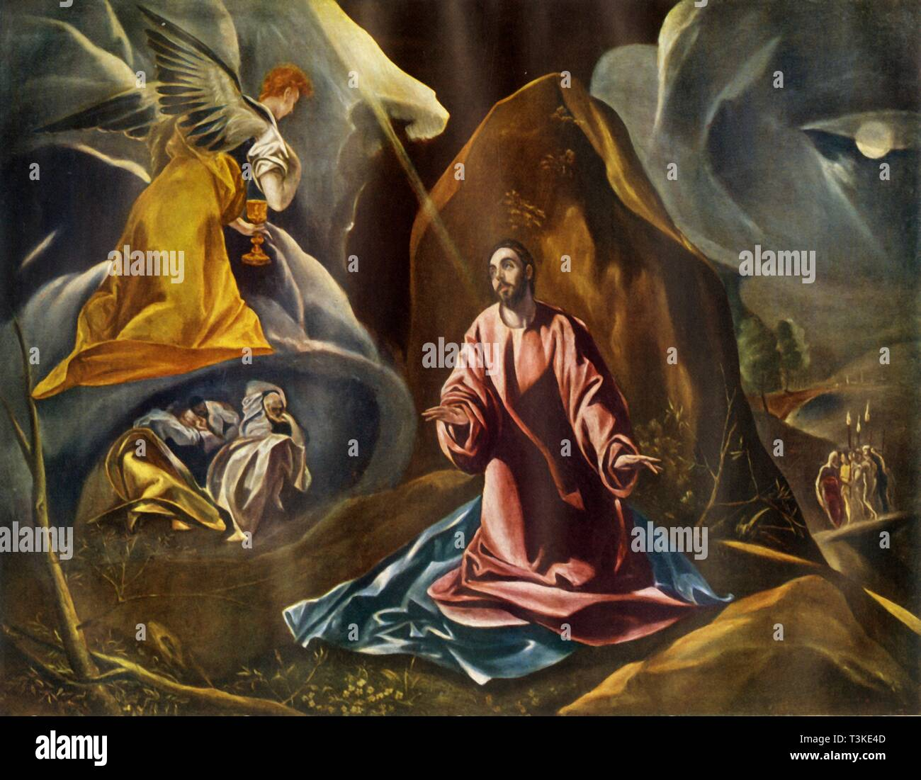 """'The Agony in the Garden of Gethsemane', 1590s, (1946). An angel appears to the kneeling Christ. In the background are the sleeping apostles, while on the right, Judas approaches with soldiers. Painting in the National Gallery in London. From """"Spanish Painting"""" by Philip Hendy. [Avalon Press & Central Institute of Art and Design, London, 1946] - Stock Image"""