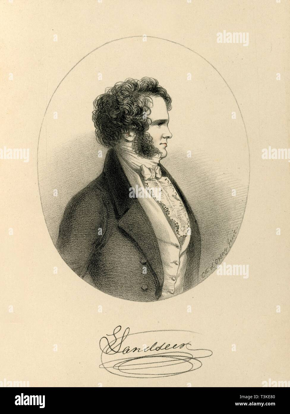 'E. Landseer', c1843. Creator: Richard James Lane. - Stock Image