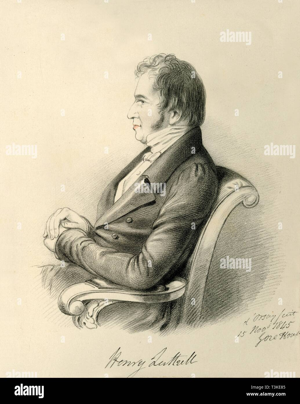 'Henry Luttrell', 1845. Creator: Alfred d'Orsay. - Stock Image