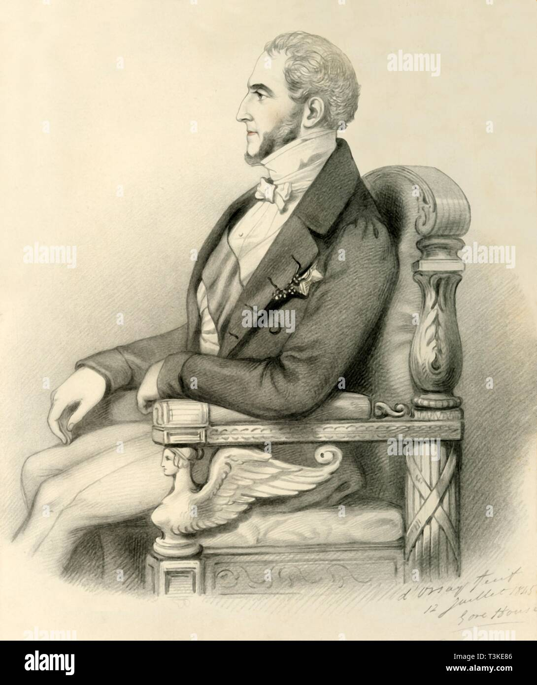 'Le Duc de Gramont', 1845. Creator: Alfred d'Orsay. - Stock Image