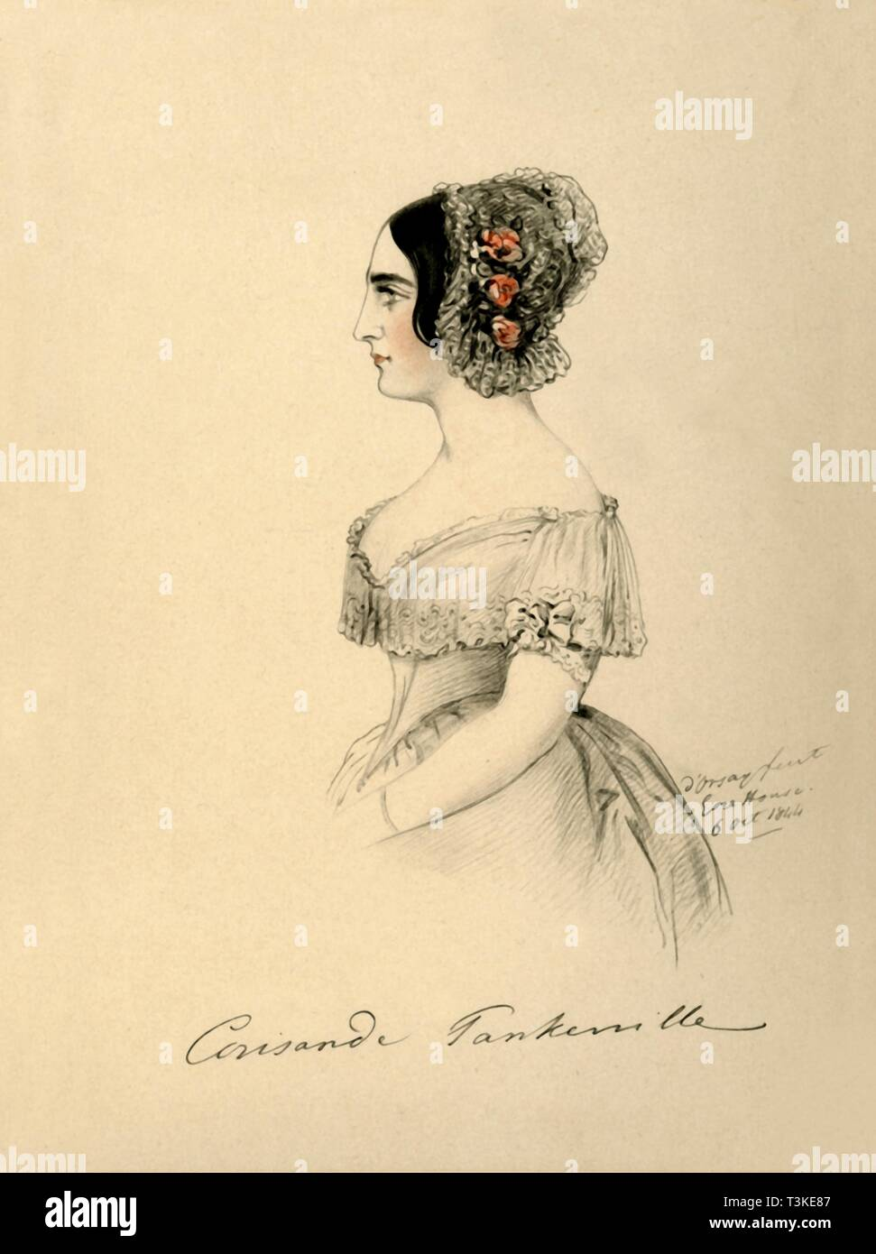 'Countess of Tankerville', 1844. Creator: Alfred d'Orsay. - Stock Image