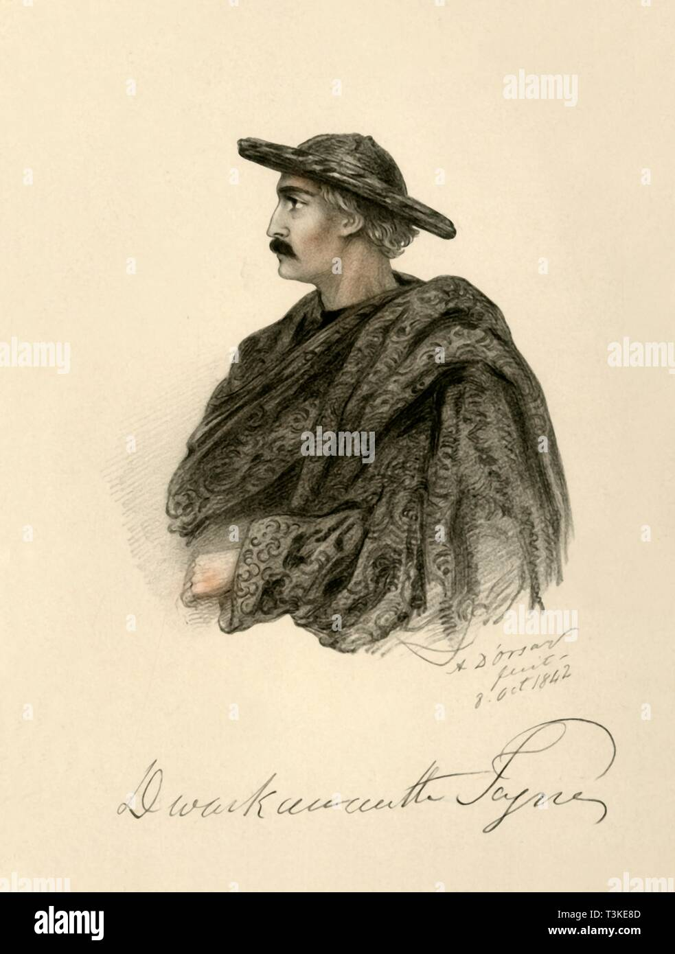 'Dwarkanath Tagore', 1842. Creator: Alfred d'Orsay. - Stock Image