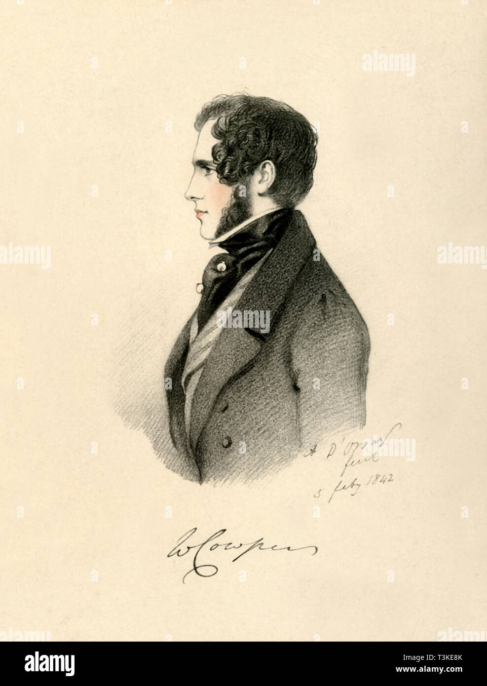 'William Cowper, 1842. Creator: Richard James Lane. - Stock Image