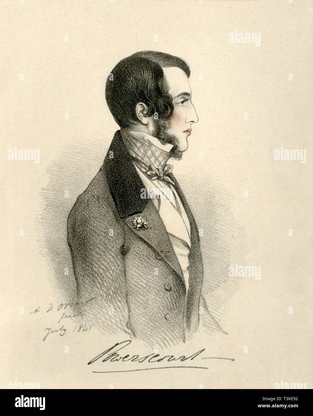 "'Viscount Powerscourt', 1841. Portrait of Richard Wingfield, 6th Viscount Powerscourt (1815-1844), British peer and Conservative politician. From ""Portraits by Count D'Orsay"", an album assembled by Lady Georgiana Codrington. [1850s] Stock Photo"