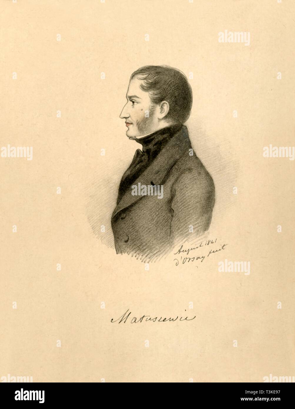 'Count Matuszewicz', 1841.  Creator: Alfred d'Orsay. - Stock Image
