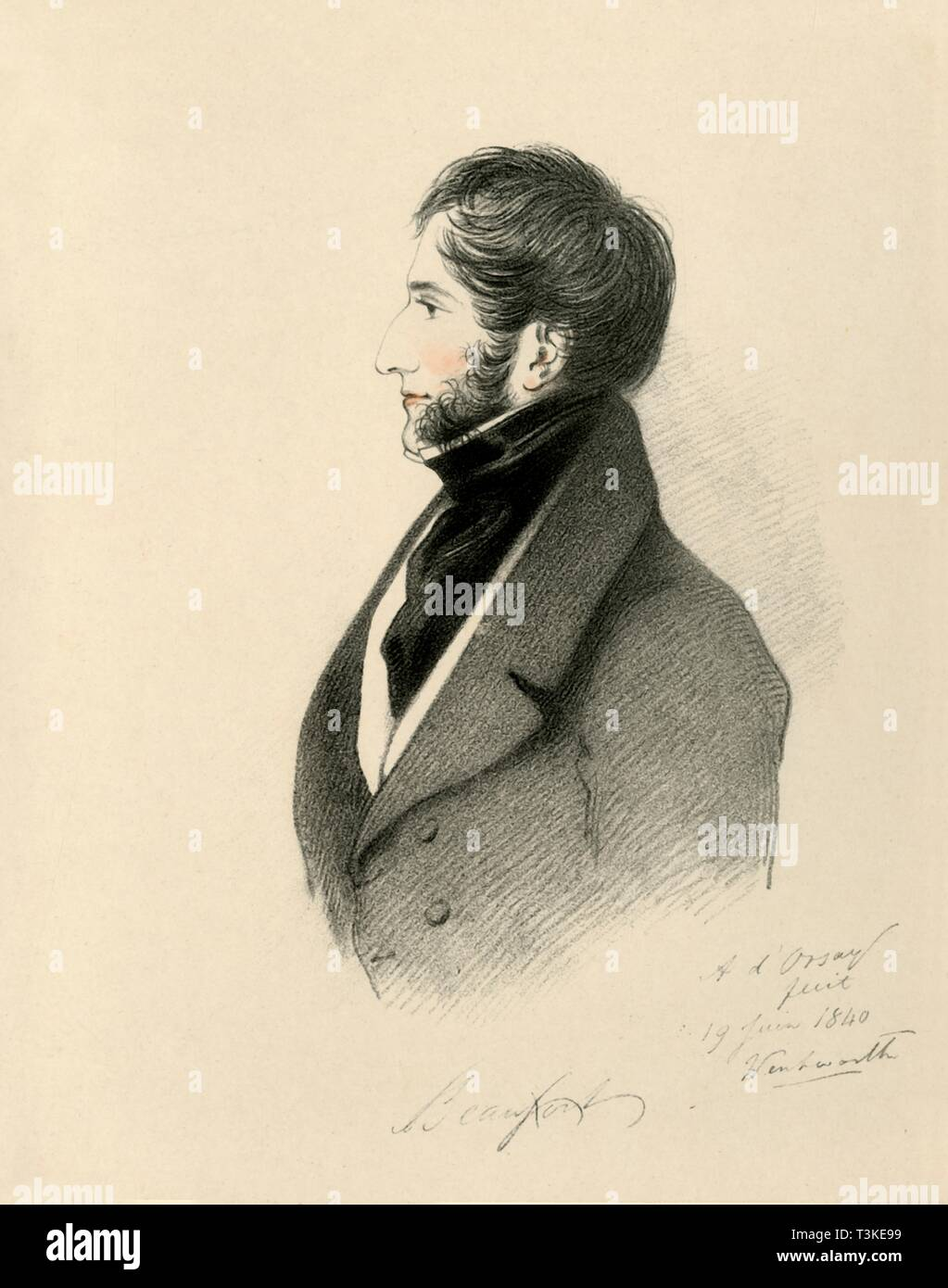 """'The Duke of Beaufort', 1840. Portrait of Henry Somerset, 7th Duke of Beaufort (1792-1853), British politician and soldier. From """"Portraits by Count D'Orsay"""", an album assembled by Lady Georgiana Codrington. [1850s] - Stock Image"""