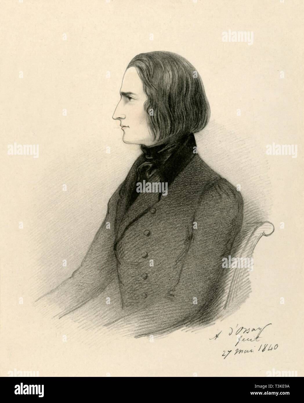 """'F. Liszt', 1840. Portrait of Hungarian pianist and composer Franz Liszt (1811-1886). From """"Portraits by Count D'Orsay"""", an album assembled by Lady Georgiana Codrington. [1850s] - Stock Image"""