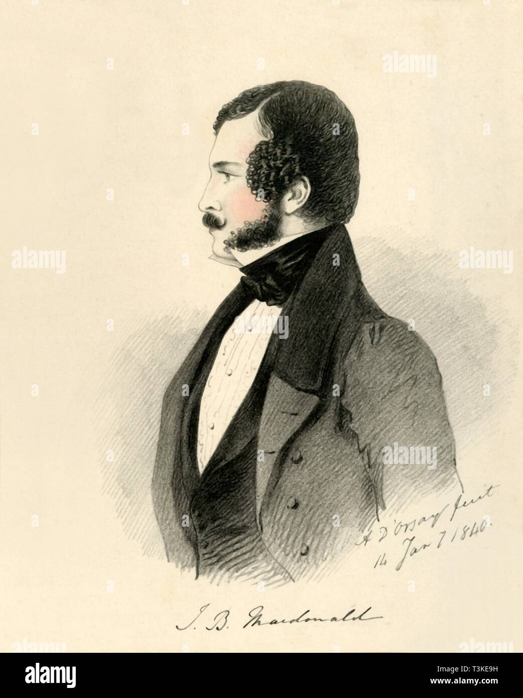 "'J. B. Macdonald', 1840. Portrait of 'The Honourable James Macdonald, 1st Life Guards'. From ""Portraits by Count D'Orsay"", an album assembled by Lady Georgiana Codrington. [1850s] Stock Photo"