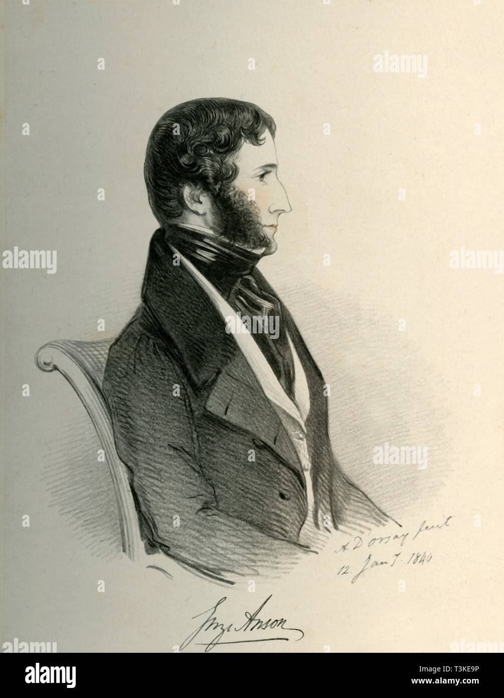 """'George Anson', 1840. Portrait of British Army officer and Whig politician George Anson (1797-1857) who served as Commander-in-Chief in India. From """"Portraits by Count D'Orsay"""", an album assembled by Lady Georgiana Codrington. [1850s] - Stock Image"""