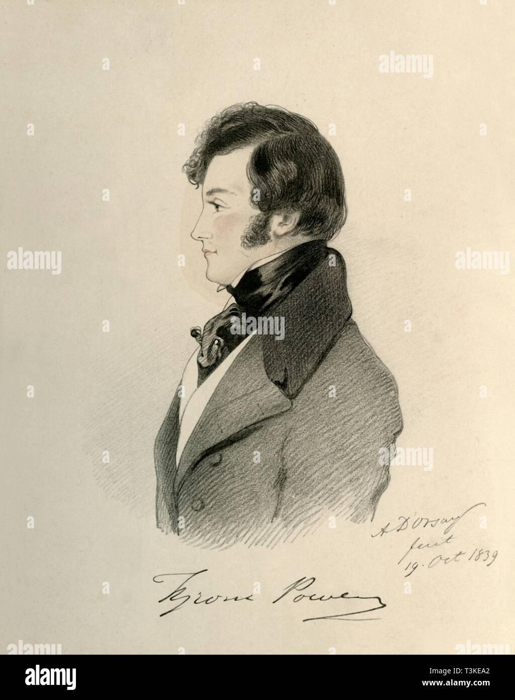 'Tyrone Power', 1839. Creator: Richard James Lane. - Stock Image