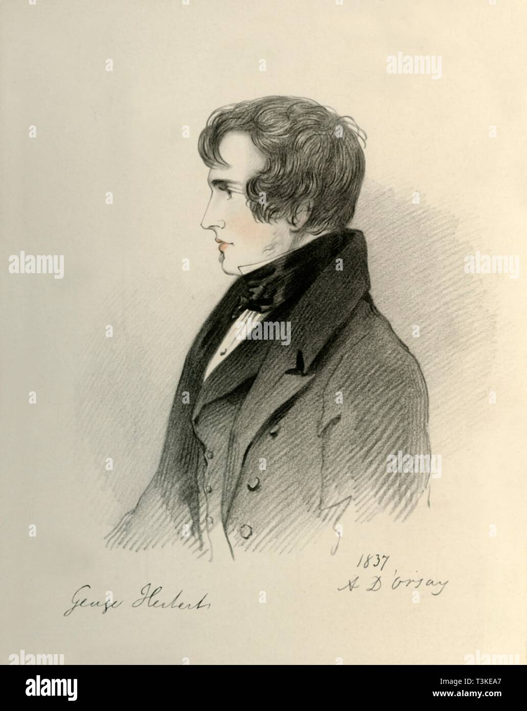 """'George Herbert Esquire', 1837. Portrait of British soldier George Herbert (1812-1838), grandson of the 1st Earl of Carnarvon. From """"Portraits by Count D'Orsay"""", an album assembled by Lady Georgiana Codrington. [1850s] - Stock Image"""