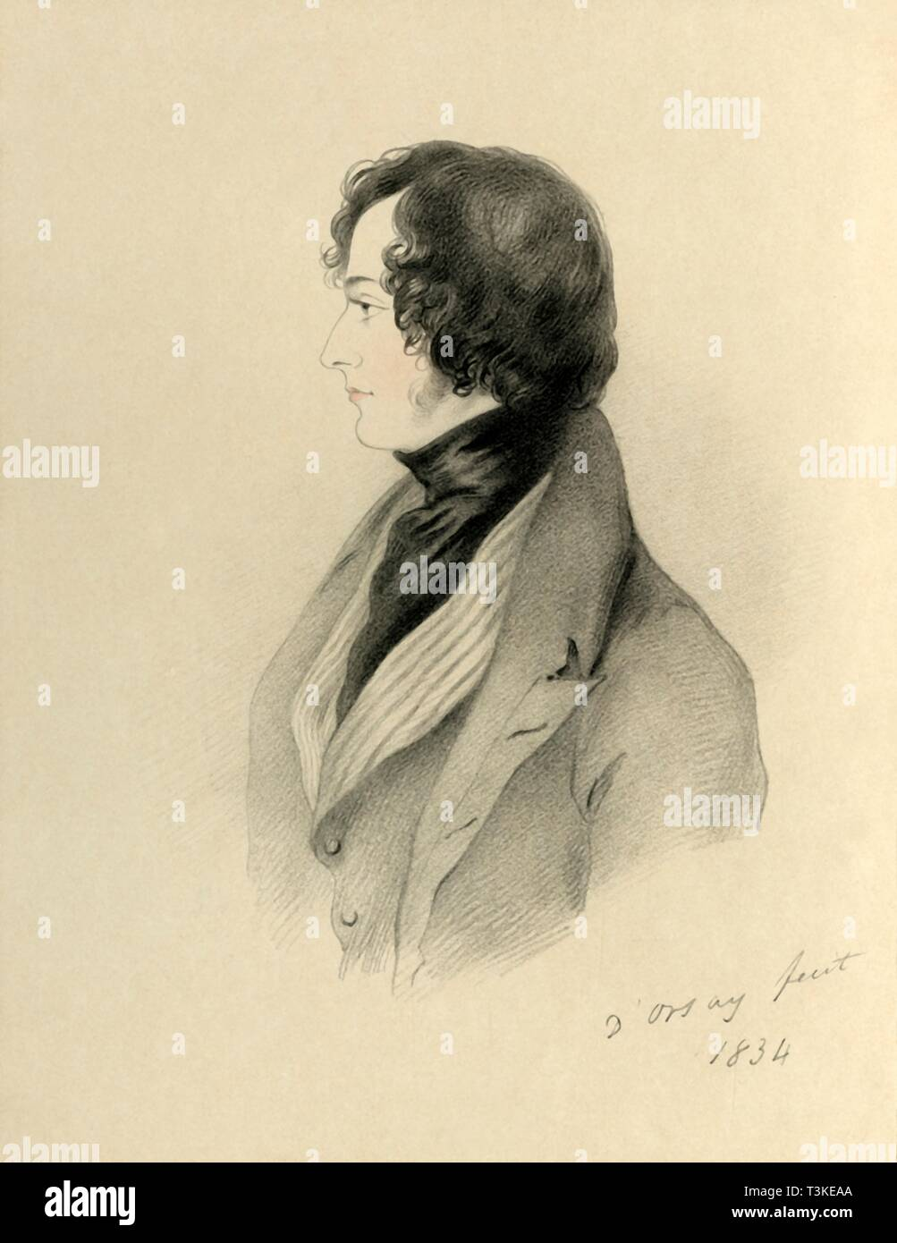 """'Right Honourable Benjamin Disraeli MP', 1834. Portrait of British Conservative statesman and writer Benjamin Disraeli (1804-1881), later the Earl of Beaconsfield. First elected to Parliament in 1837, Disraeli was twice Prime Minister of Britain, first in 1868 and then again between 1874 and 1880. Under his Conservative government, the British Empire expanded and in 1876 he conferred on Queen Victoria the title Empress of India. From """"Portraits by Count D'Orsay"""", an album assembled by Lady Georgiana Codrington. [1850s] Stock Photo"""