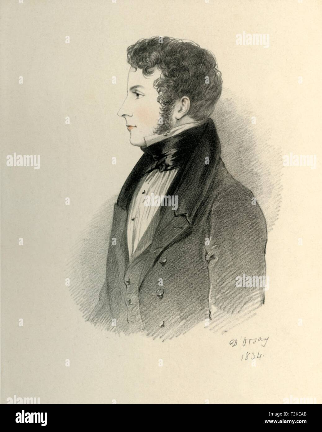 'The Honourable John Ponsonby, afterwards the Earl of Bessborough', 1834. Creator: Alfred d'Orsay. Stock Photo