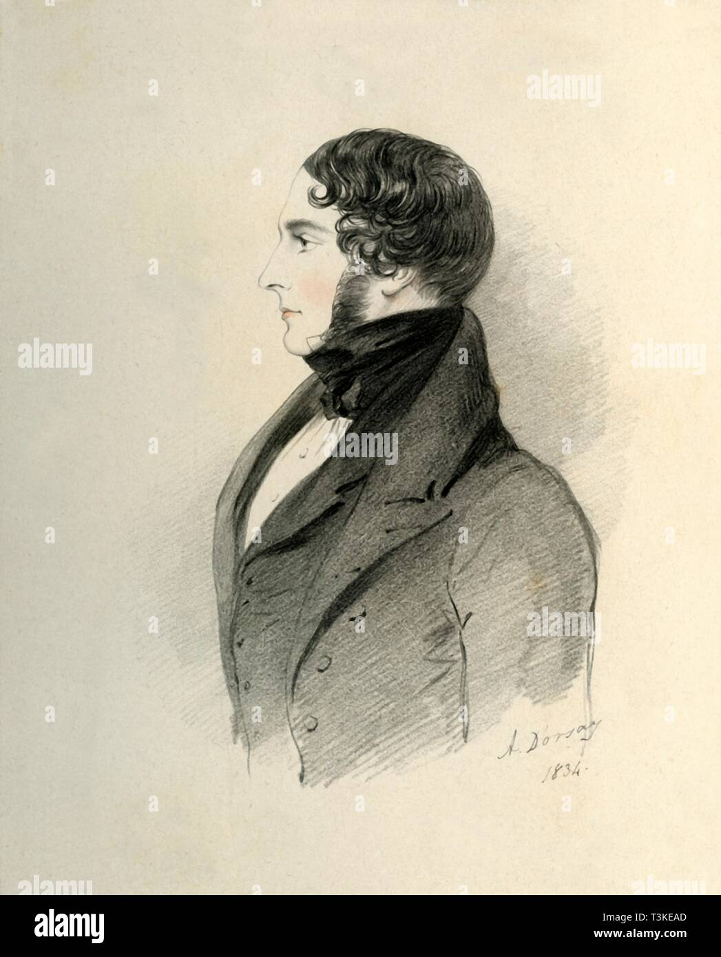 """'William Massey Stanley Esquire', 1834. Portrait of Sir William Stanley-Massey-Stanley, 10th Baronet, (c1806-1863), British landowner and Conservative politician. From """"Portraits by Count D'Orsay"""", an album assembled by Lady Georgiana Codrington. [1850s] - Stock Image"""