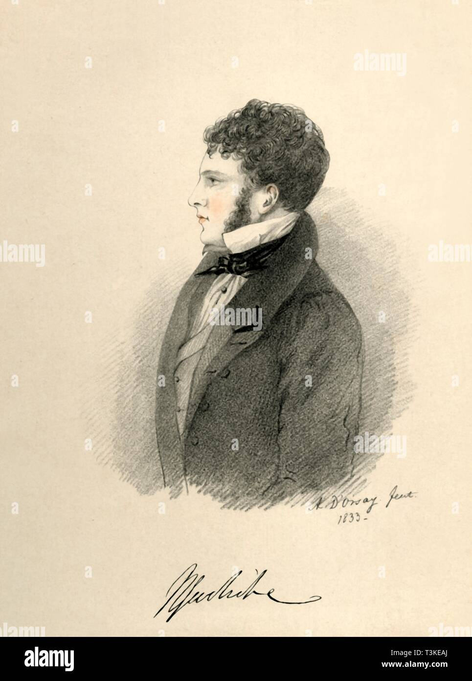 """'Sir Harry Goodricke', 1833. Portrait of British aristocrat Sir Henry James Goodricke (1797-1833). From """"Portraits by Count D'Orsay"""", an album assembled by Lady Georgiana Codrington. [1850s] Stock Photo"""