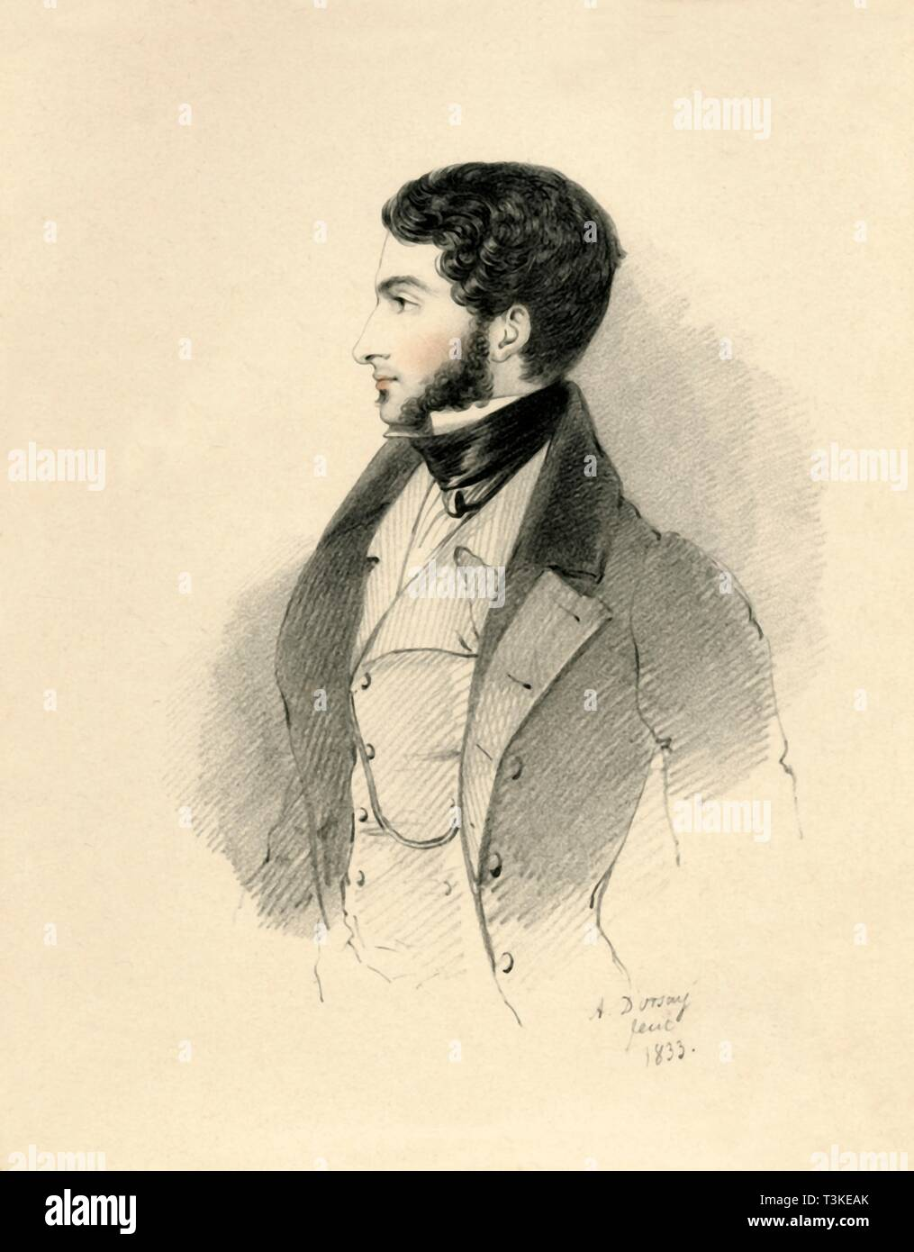"""'The Honourable George Byng M.P. afterwards Viscount Enfield', 1833. Portrait of George Stevens Byng, 2nd Earl of Strafford (1806-1886), British Whig politician and Comptroller of the Household. From """"Portraits by Count D'Orsay"""", an album assembled by Lady Georgiana Codrington. [1850s] - Stock Image"""
