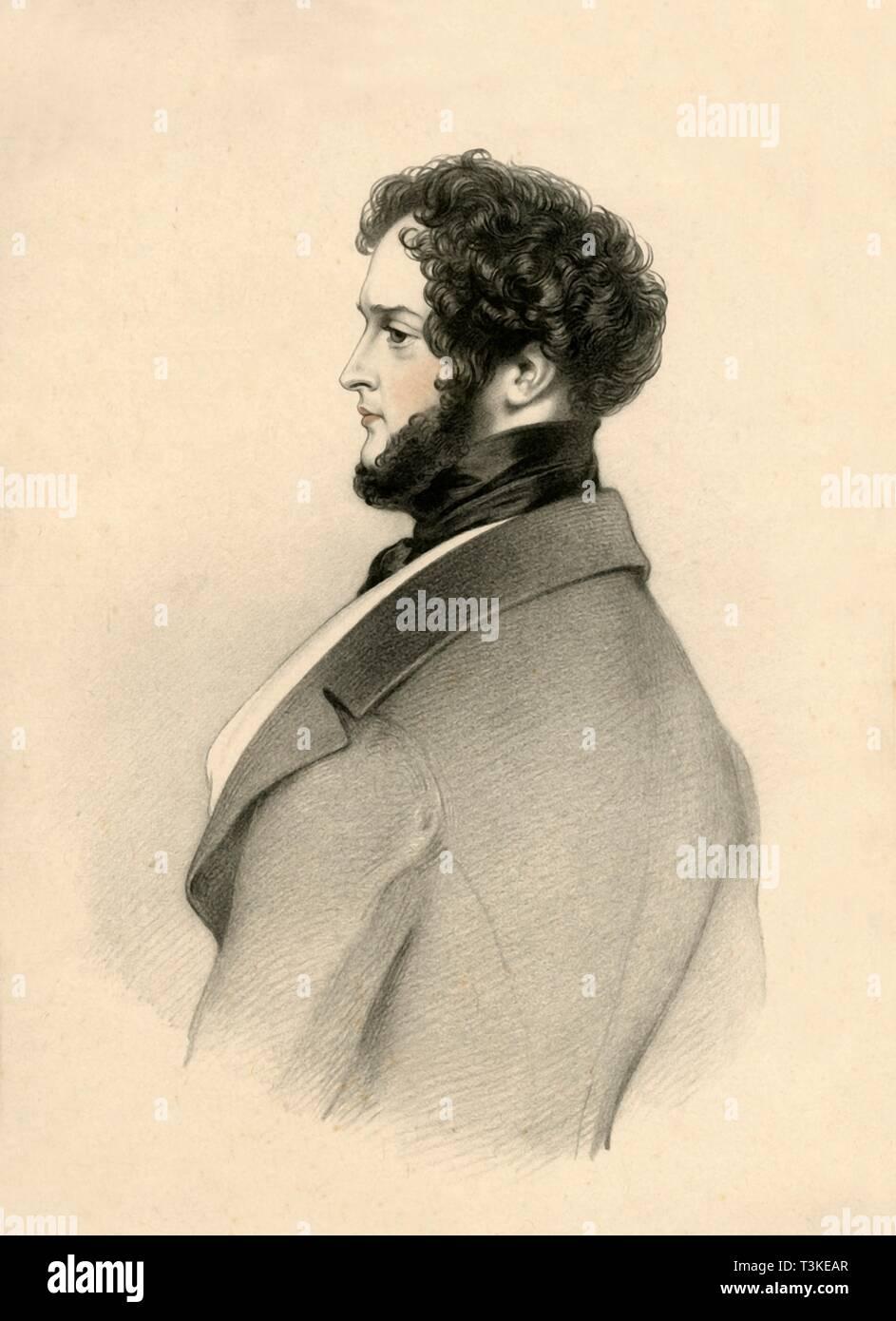 'Alfred D'Orsay', 1833. Creator: Richard James Lane. - Stock Image