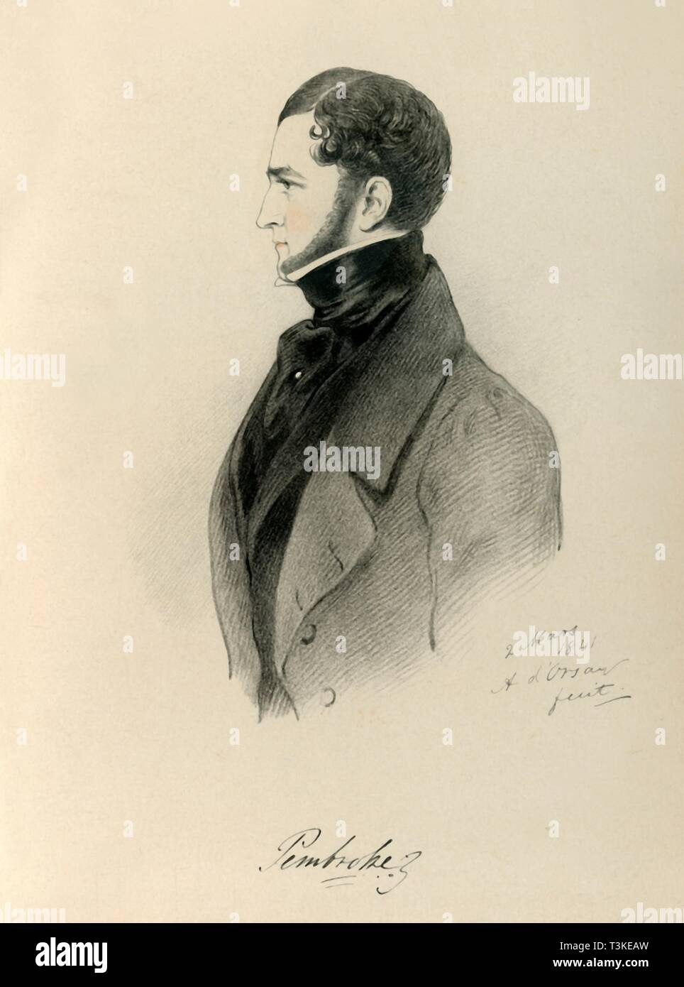"""'Pembroke', 1841. Portrait of British peer Robert Henry Herbert, 12th Earl of Pembroke (1791-1862). From """"Portraits by Count D'Orsay"""", an album assembled by Lady Georgiana Codrington. [1850s] - Stock Image"""