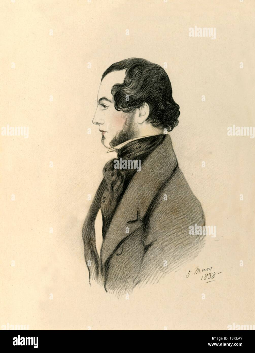 """'J Home Purves', 1838. Portrait of John Home Purves (c1816-1867), Colonel and Equerry and Comptroller of the Household to the Duchess of Cambridge, nephew of Lady Blessington. From """"Portraits by Count D'Orsay"""", an album assembled by Lady Georgiana Codrington. [1850s] - Stock Image"""