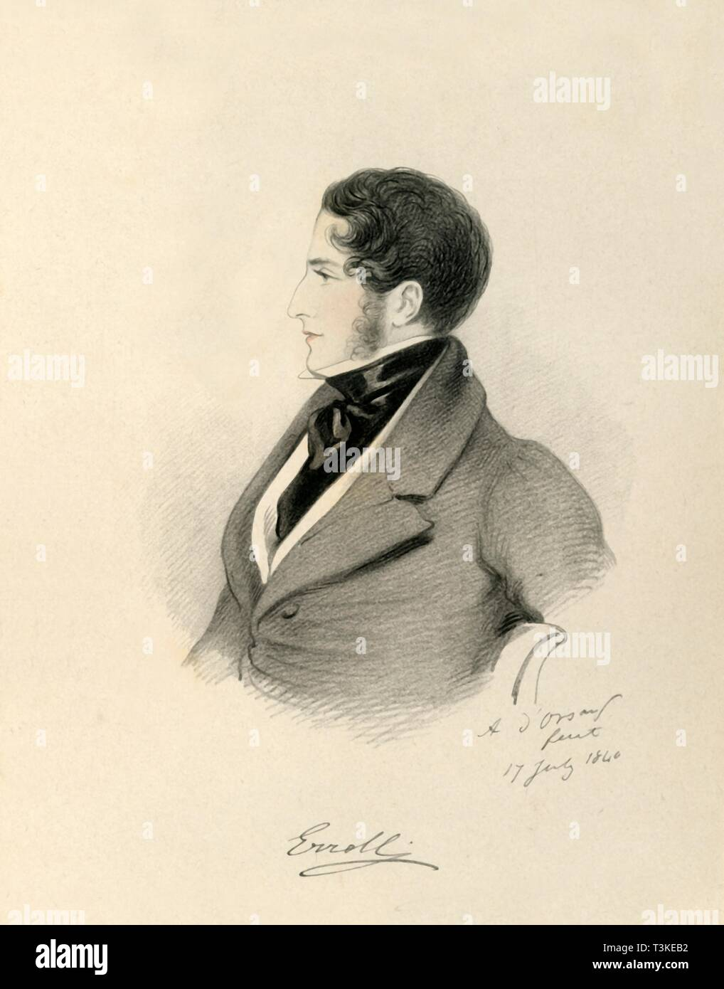"""'Erroll', 1840. Portrait of William George Hay, 18th Earl of Erroll (1801-1846), Scottish peer and politician. From """"Portraits by Count D'Orsay"""", an album assembled by Lady Georgiana Codrington. [1850s] Stock Photo"""
