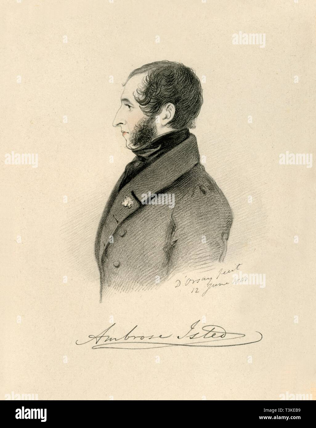 "'Ambrose Isted', 1840. From ""Portraits by Count D'Orsay"", an album assembled by Lady Georgiana Codrington. [1850s] Stock Photo"
