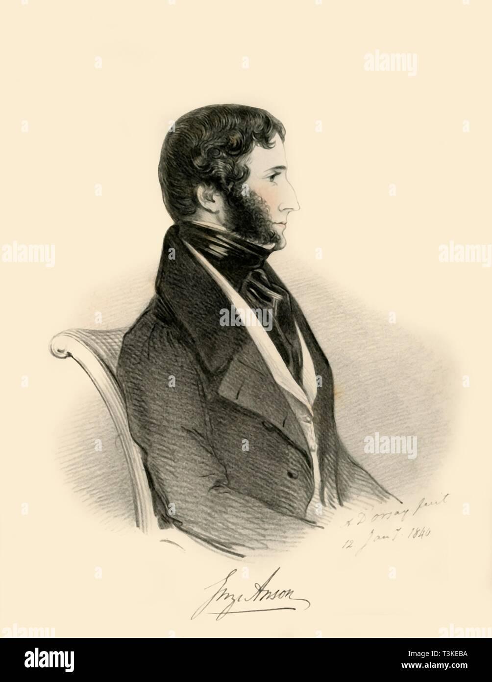 'George Anson', 1840. Creator: Richard James Lane. - Stock Image