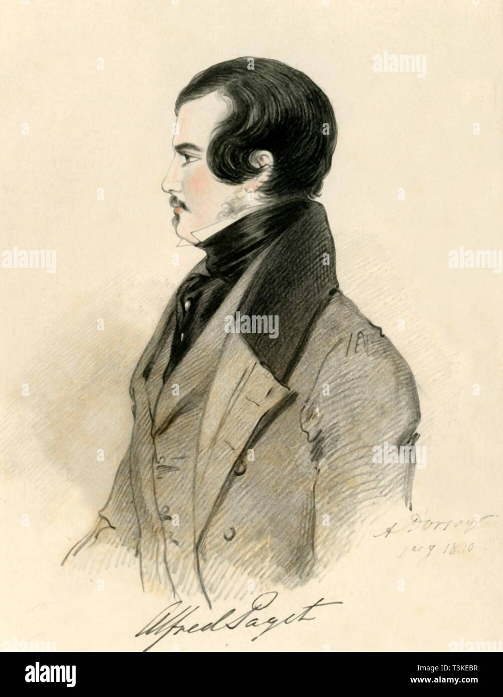 """'Alfred Paget', 1840. Portrait of Lord Alfred Henry Paget (1816-1888), British courtier, Liberal politician MP for Lichfield, and lieutenant in the Royal Horse Guards. From """"Portraits by Count D'Orsay"""", an album assembled by Lady Georgiana Codrington. [1850s] - Stock Image"""