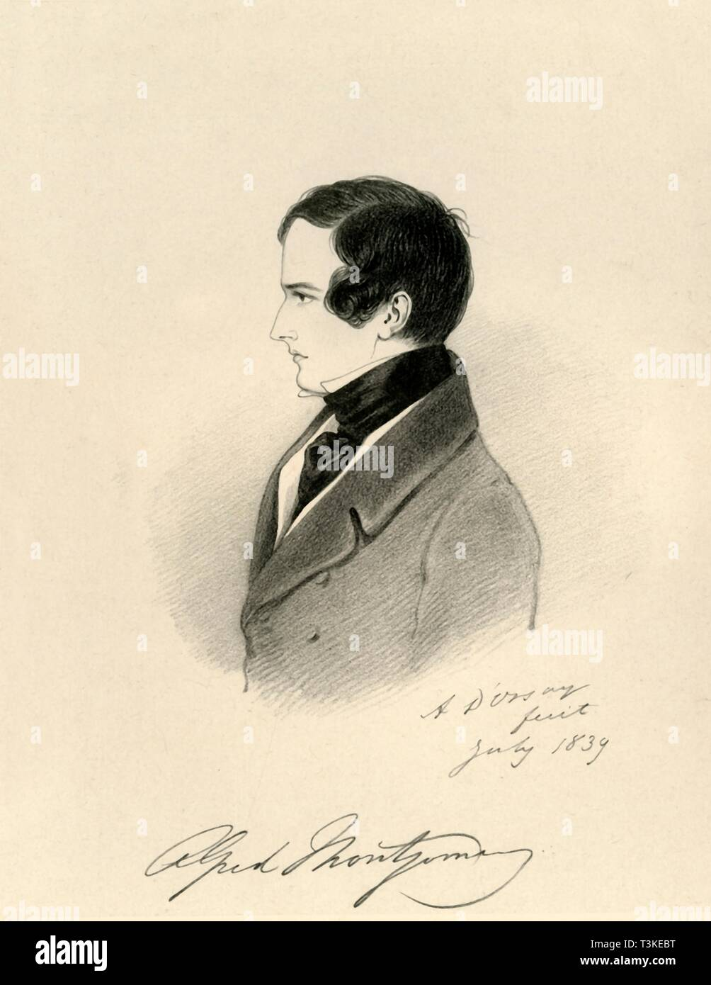 """'Alfred Montgomery', 1839. Portrait of Alfred Montgomery (1814-1896), British Commissioner for Inland Revenue. From """"Portraits by Count D'Orsay"""", an album assembled by Lady Georgiana Codrington. [1850s] Stock Photo"""