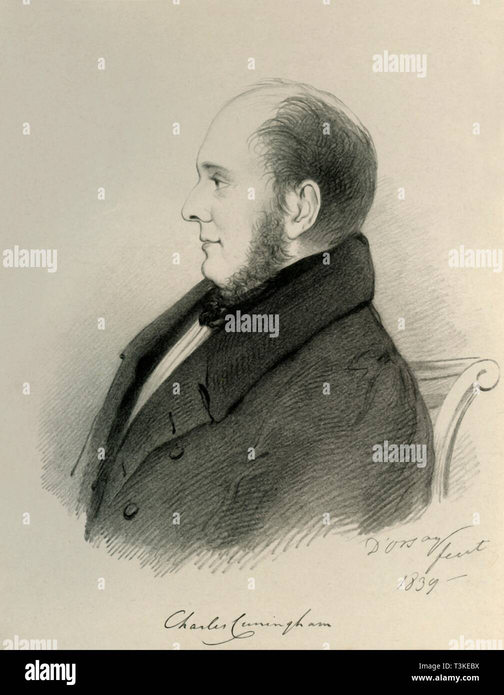 'Charles Cunningham', 1839. Creator: Alfred d'Orsay. - Stock Image