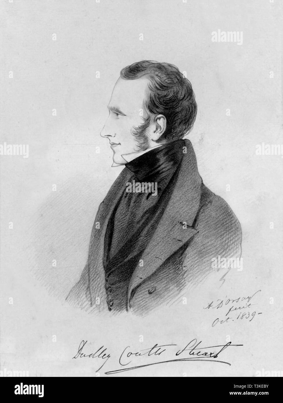 """'Dudley Coutts Stuart', 1839. Portrait of Lord Dudley Coutts Stuart (1803-1854), British politician who married Princess Christine Bonaparte, niece of Napoleon Bonaparte. From """"Portraits by Count D'Orsay"""", an album assembled by Lady Georgiana Codrington. [1850s] - Stock Image"""