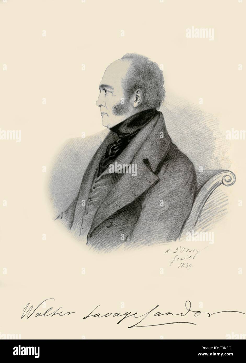 """'Walter Savage Landor', 1839. Portrait of British writer, poet, and activist Walter Savage Landor (1775-1864). From """"Portraits by Count D'Orsay"""", an album assembled by Lady Georgiana Codrington. [1850s] - Stock Image"""