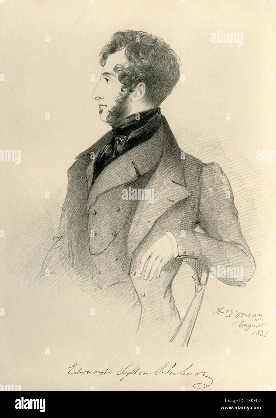 'Edward Lytton Bulwer', 1837. Creator: Richard James Lane. - Stock Image
