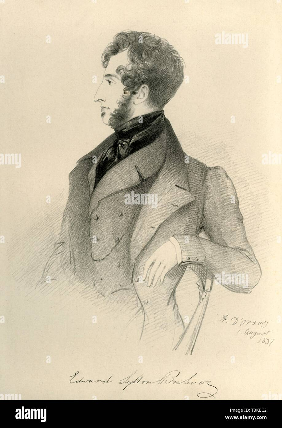 """''Edward Lytton Bulwer', 1837. Portrait of Edward George Earle Lytton Bulwer-Lytton (1803-1873), British novelist, poet, playwright, and politician. From """"Portraits by Count D'Orsay"""", an album assembled by Lady Georgiana Codrington. [1850s] - Stock Image"""