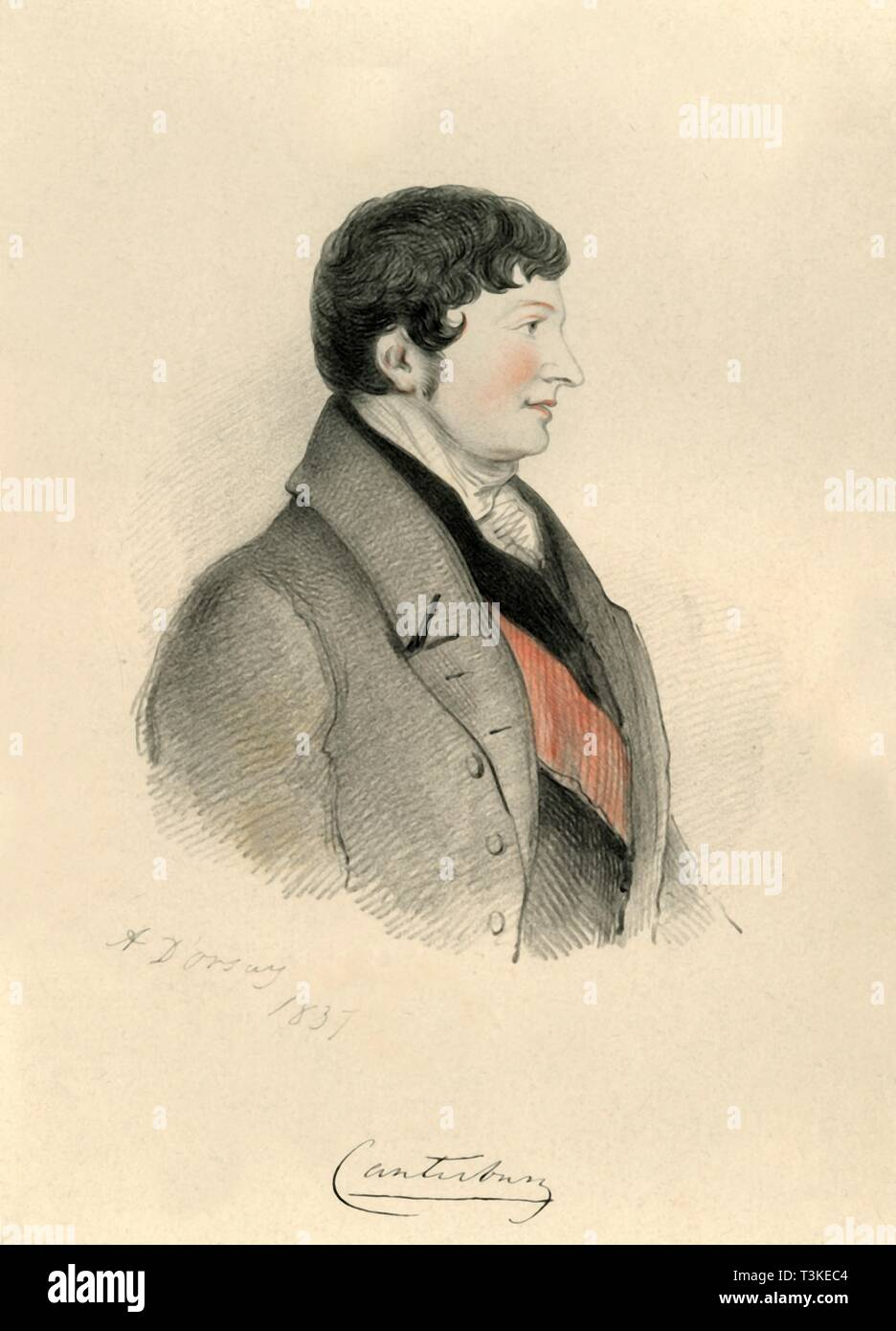 Charles Manners Sutton, 1st Viscount Canterbury, 1837. Creator: Alfred d'Orsay. - Stock Image