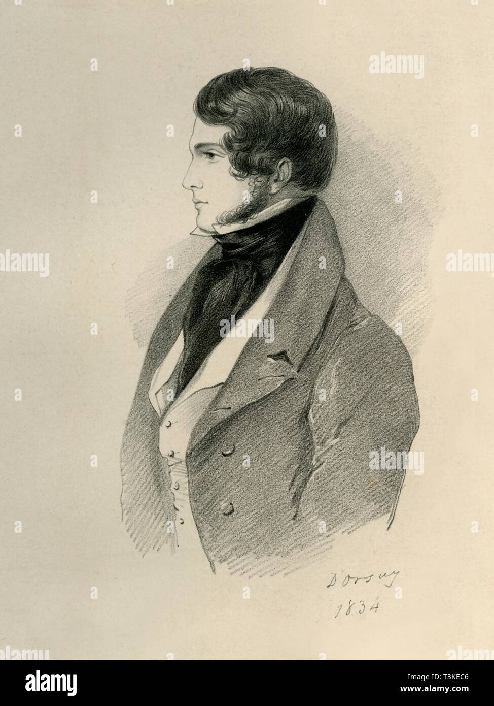 L. Gilmour, 1834. Creator: Alfred d'Orsay. - Stock Image