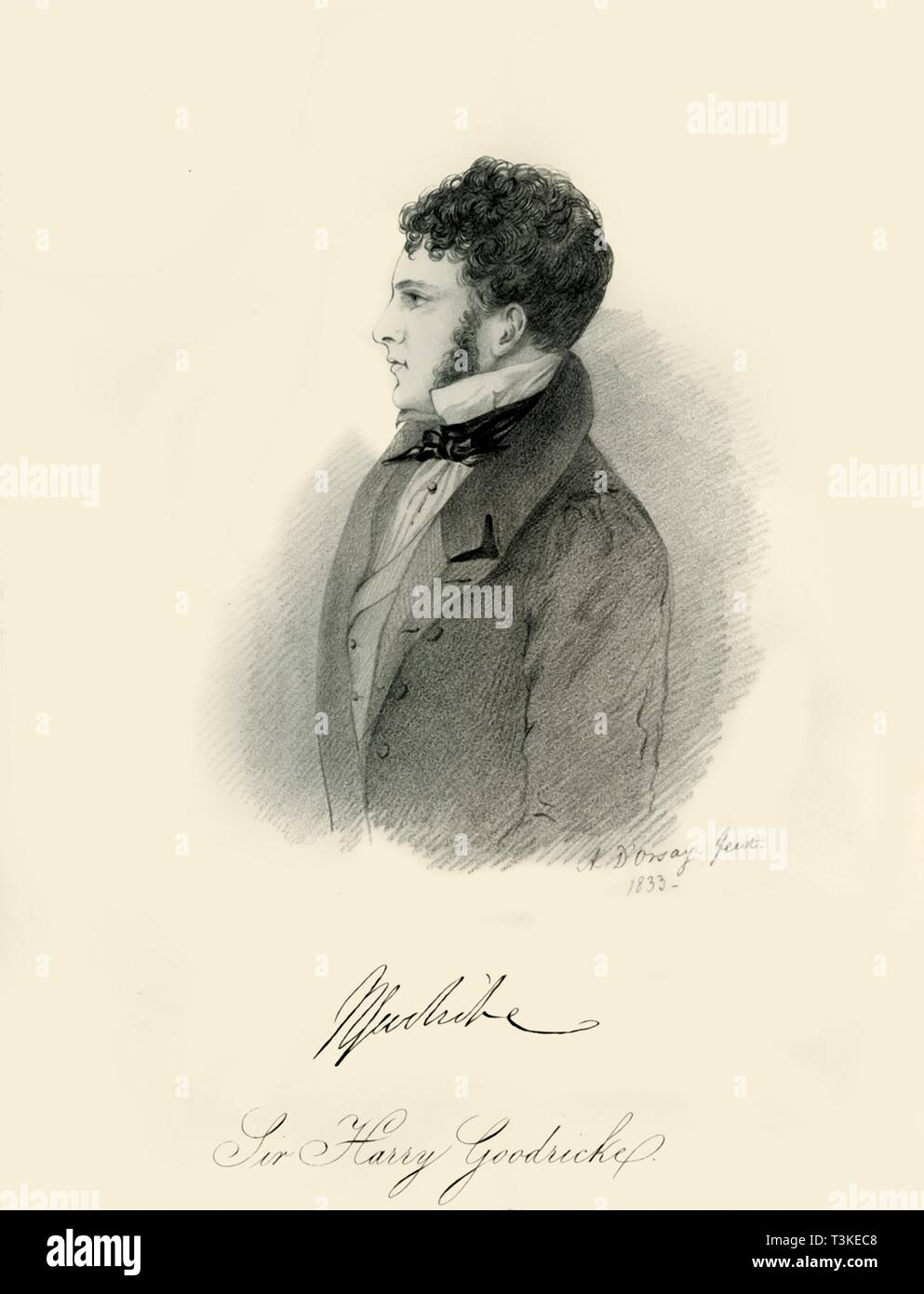 """'Sir Harry Goodricke', 1833. Portrait of British aristocrat Sir Henry James Goodricke (1797-1833). From """"Portraits by Count D'Orsay"""", an album assembled by Lady Georgiana Codrington. [1850s] - Stock Image"""