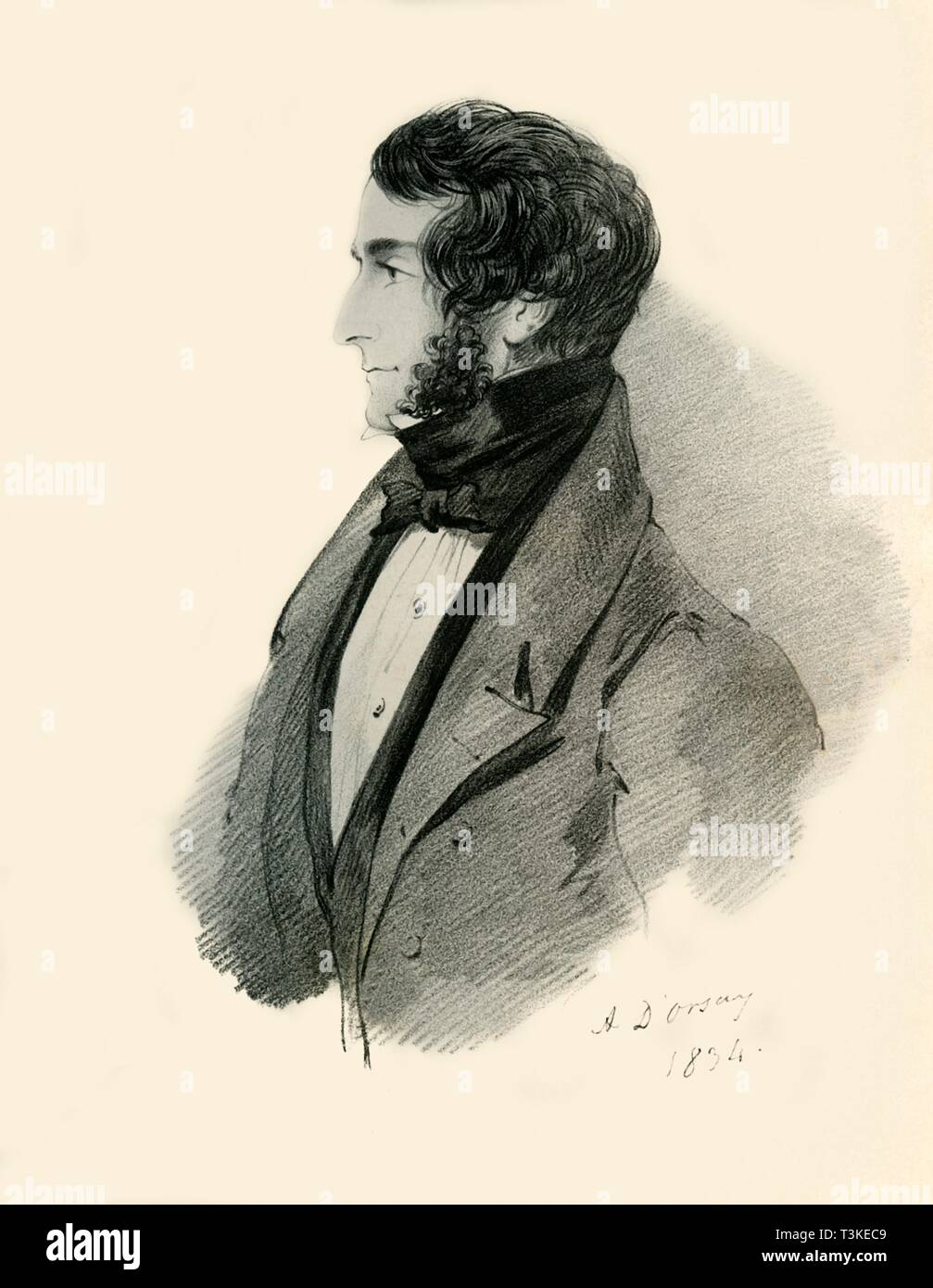 """Colonel John Lyster, 1834. Portrait of John Lyster, British soldier, (died 1840). From """"Portraits by Count D'Orsay"""", an album assembled by Lady Georgiana Codrington. [1850s] - Stock Image"""