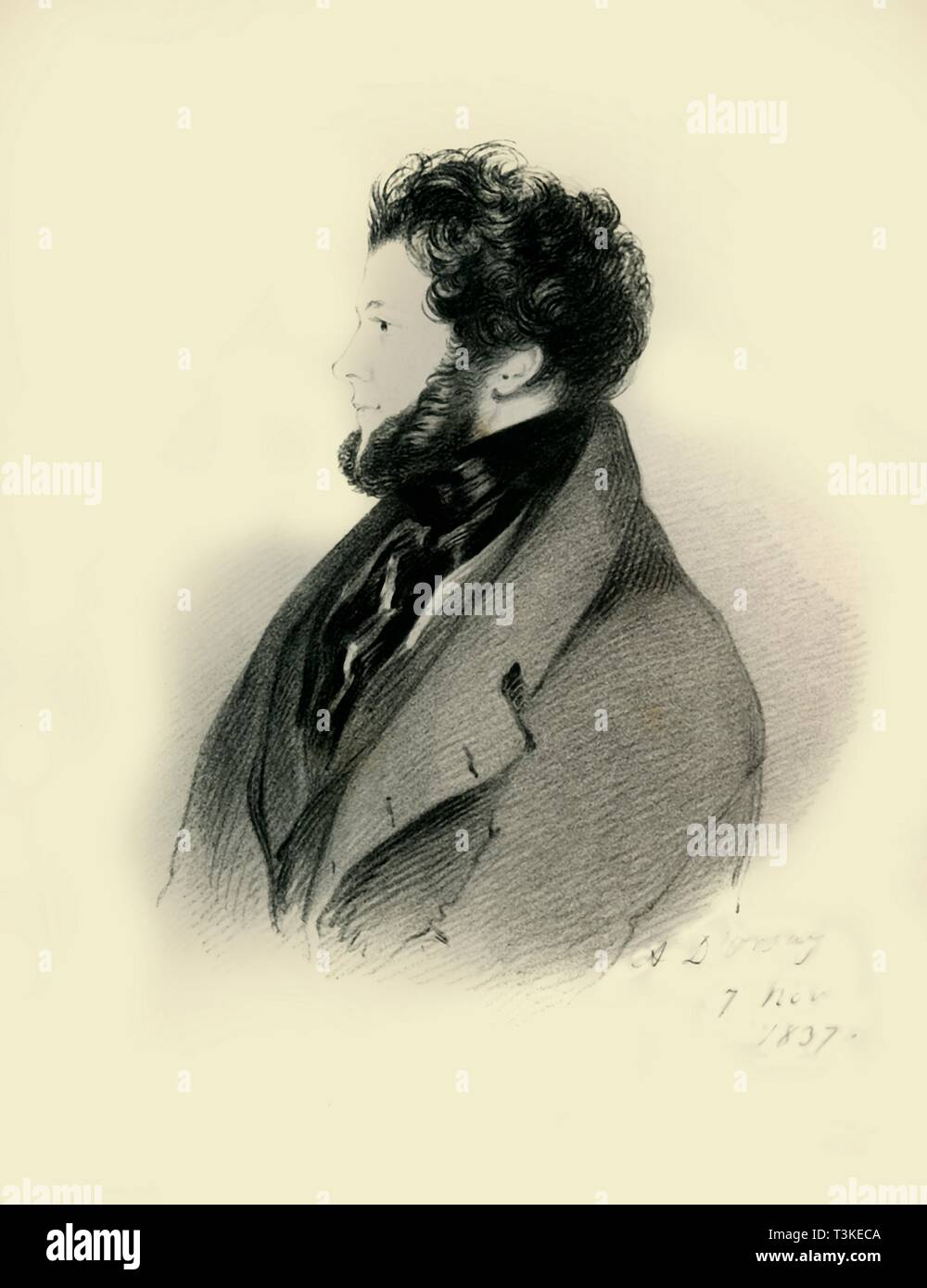 """'Charles Standish Esquire M.P.', 1837. Portrait of British politician and sportsman Charles Standish (1790-1863). From """"Portraits by Count D'Orsay"""", an album assembled by Lady Georgiana Codrington. [1850s] - Stock Image"""