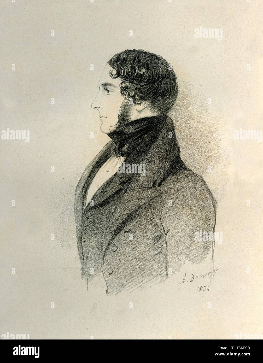 """Sir William Massey Stanley, 1834. Portrait of Sir William Stanley-Massey-Stanley, 10th Baronet, (c1806-1863), British landowner and Conservative politician. From """"Portraits by Count D'Orsay"""", an album assembled by Lady Georgiana Codrington. [1850s] - Stock Image"""