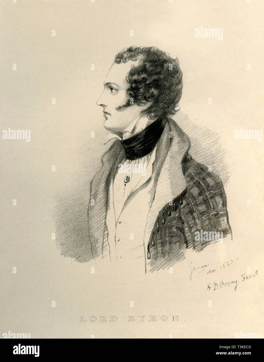 """'Lord Byron', 1823. Portrait of English poet George Noel Gordon Byron, Lord Byron (1788-1824). From """"Portraits by Count D'Orsay"""", an album assembled by Lady Georgiana Codrington. [1850s] Stock Photo"""