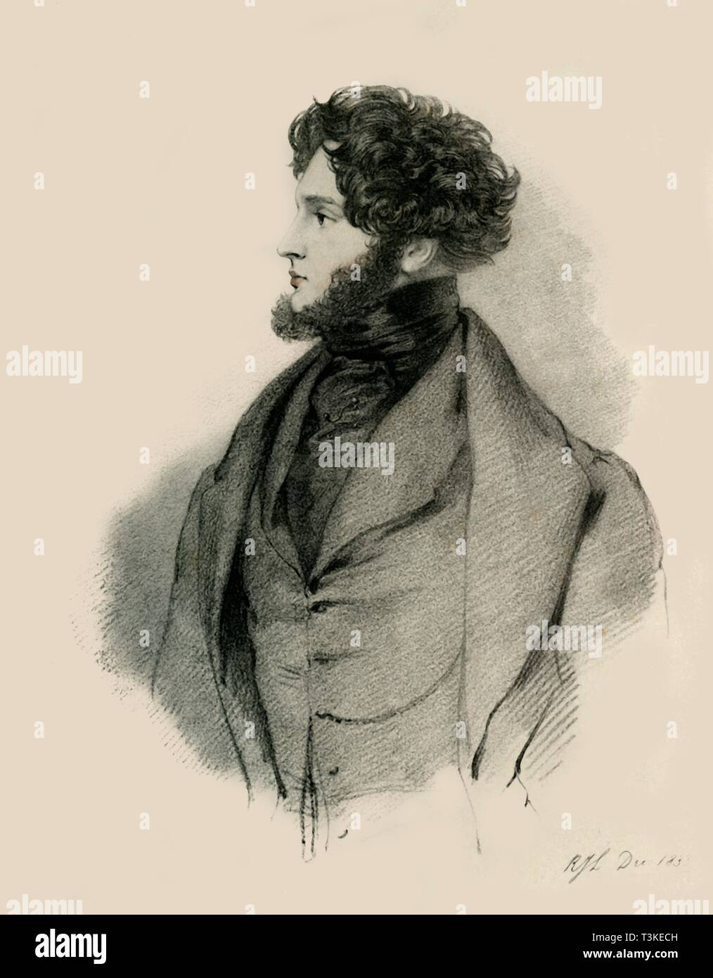 """Alfred, Count d'Orsay, 1833. Portrait of Alfred Guillaume Gabriel Grimod d'Orsay, comte d'Orsay (1801-1852), French amateur artist, dandy, and man of fashion. From """"Portraits by Count D'Orsay"""", an album assembled by Lady Georgiana Codrington. [1850s] - Stock Image"""