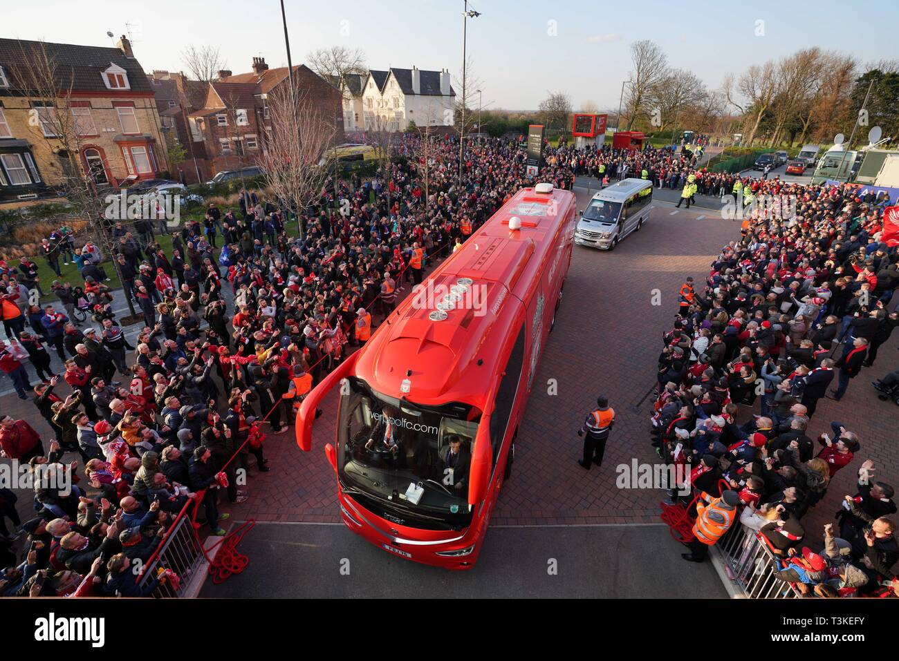 A general view of Anfield, with Liverpool coach arriving with fans