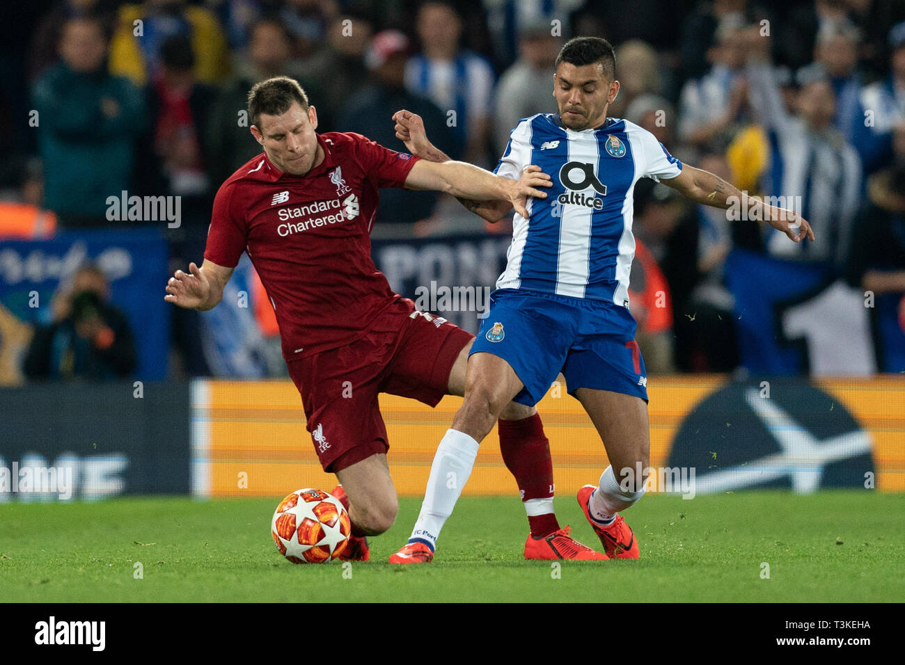 eb74b1944 Liverpool s James Milner battles with Porto s Jesus Corona 9th April 2019