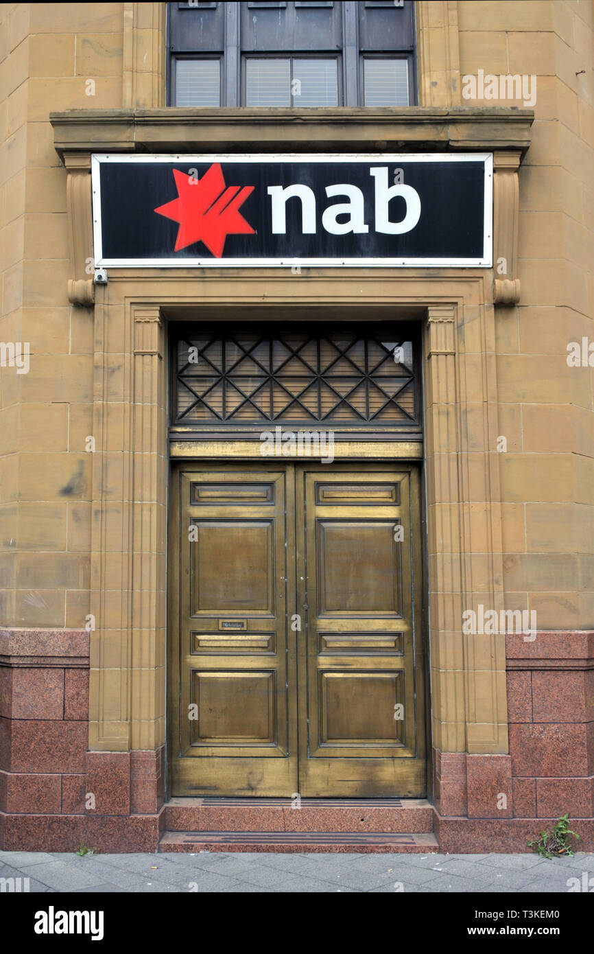 HOBART - MAR 21 2019:National Australia Bank Branch. NAB Is one of the four largest financial institutions in Australia in terms of market capitalisat - Stock Image